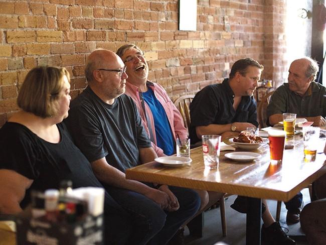 Eastern Washington University writers and instructors (left to right):  Natalie Kusz, Shawn Vestal, Christopher Howell, Sam Ligon and Lohn Keeble. - YOUNG KWAK