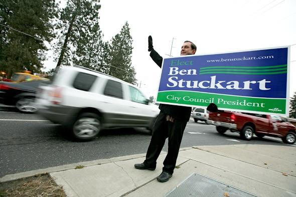 Ben Stuckart waves at passing motorists on Monday, Nov. 7. - YOUNG KWAK
