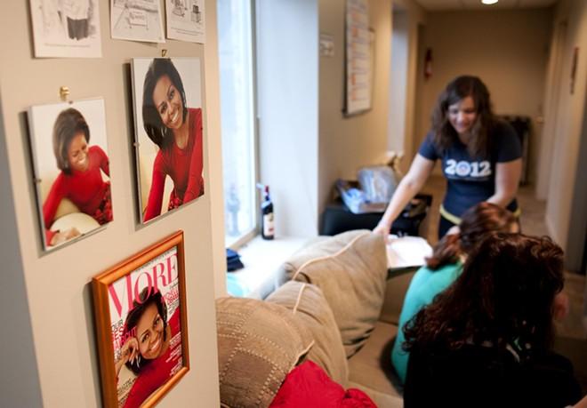 Volunteers at the Democratic HQ in Spokane hang out before dispersing for door-to-door rounds.