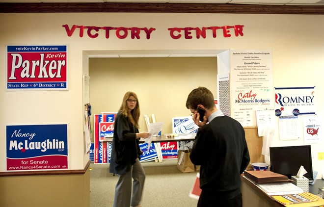 The GOP Victory Center HQ on North River Drive in Spokane.