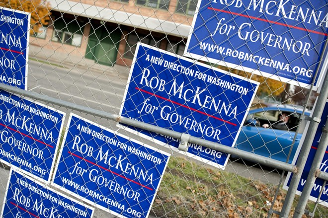 Campaign signs in victory formation near the intersection of Ruby and Boone in Spokane.