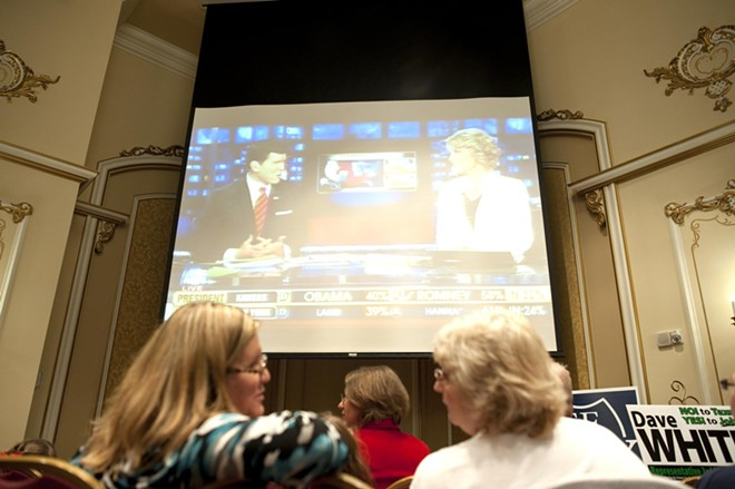 Attendees of the McMorris-Rodgers watch party at the Davenport Hotel watch the Fox News coverage of the election Tuesday evening.