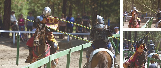 Epona Equestrian Team members Tieg Thornton (left) and Carson Hentges joust during the 2014 Northwest Renaissance Festival. - YOUNG KWAK