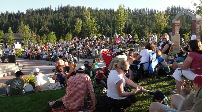 Community members gather to enjoy live music for the Riverstone Park summer concert series. - CDA ARTS & CULTURE ALLIANCE