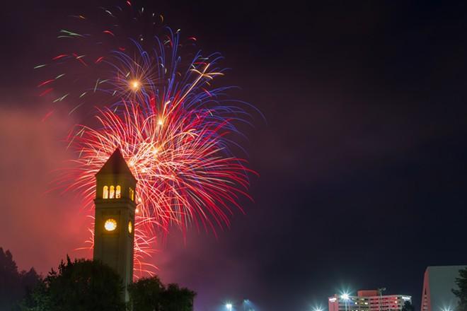Fireworks blast through the night sky in Riverfront Park. - MATT WEIGAND