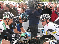 Mark Cavendish, right, before April's Paris-Roubaix race.