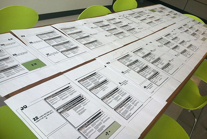 Proofing pages full of menus for the upcoming Inlander Restaurant Week guide. - LISA WAANANEN