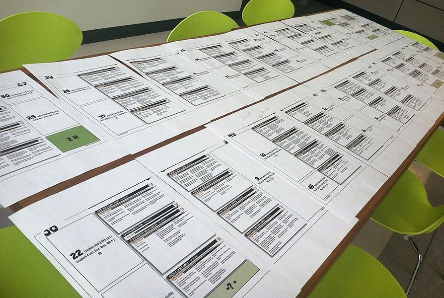 Proofing pages full of menus for the upcoming Inlander Restaurant Week guide. - LISA WAANANEN