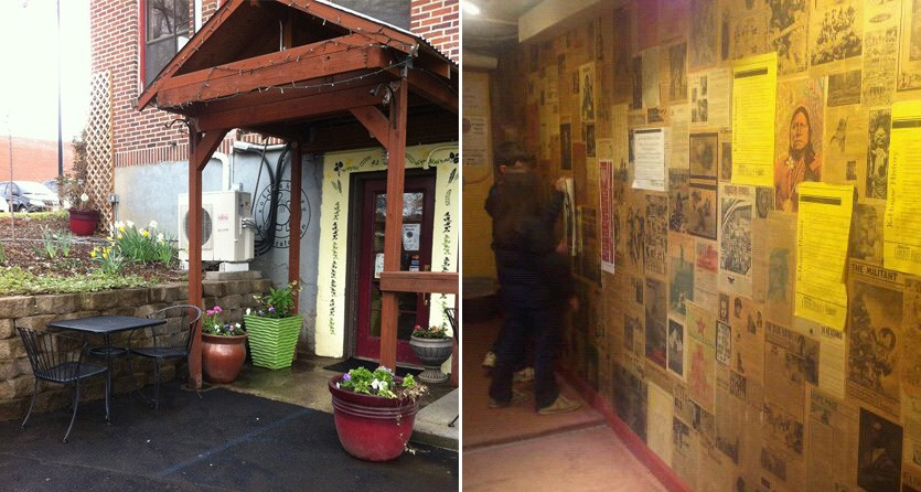 Zoe Underground on the Washington State University campus, located in the basement of a building where the walls are papered with vintage student newspapers. - ZOE UNDERGROUND