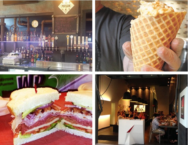 Clockwise from top left: Underground 15, Brain Freeze, Nudo and the Deli at Northern Quest.