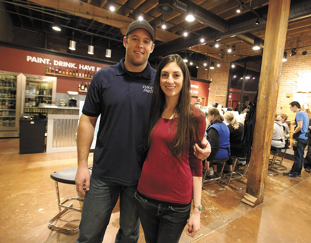 Franchise owners Jeff Hansen, left, and Jackie Casey opened Pinot's Palette earlier this year. - YOUNG KWAK