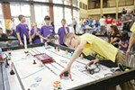 Freeman Elementary School 5th grader William Russell checks his robot before 1st Lego League competition.