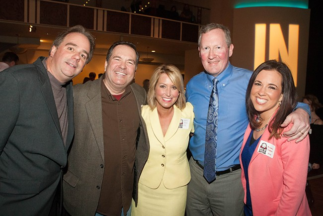 From left: Dave Sposito of ZZU's Dave, Ken and Molly; KREM's Tom Sherry; KHQ's Leslie Lowe; Inlander Publisher Ted S. McGregor Jr.; KHQ's Michelle Dapper. - MEGHAN KIRK