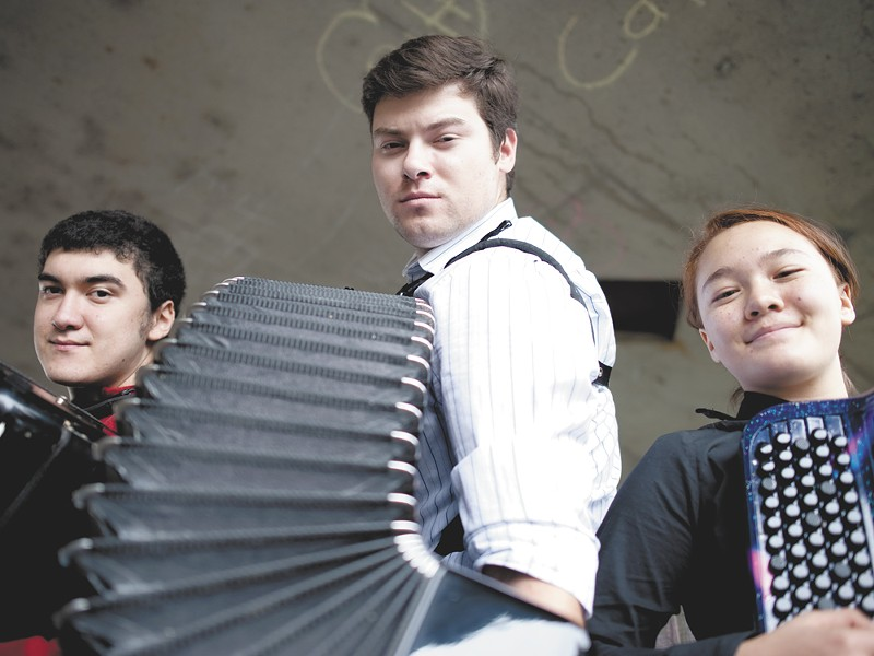 FROM LEFT: Gabriel Soileau, 16, Yevgeniy Nosov, 24 and Naomi Harris, 12, all qualified for the 2012 World Trophy Accordion Championships. - CHRISTIAN WILSON