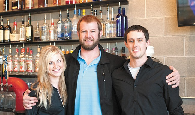 From left: Hailey Ogle, Boiler Room manager Mitch Holda and bartender Jake Gaebe. - MEGHAN KIRK