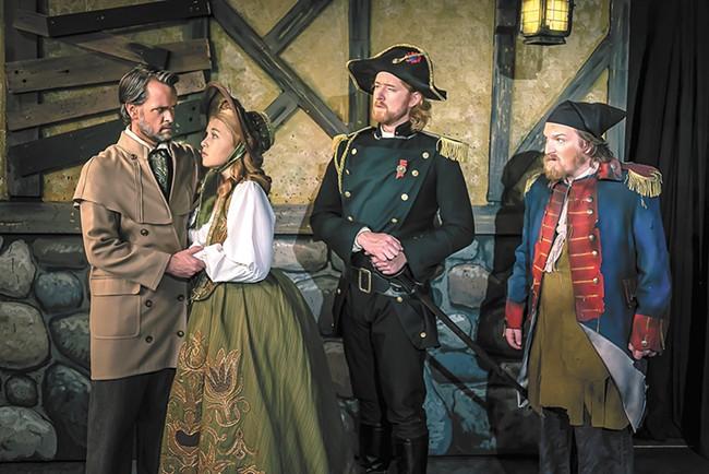 From left: J.R. Haynie as Jean Valjean, Caitlin Duffey as Cosette, Daniel Bell as Javert and Kelly Hauenstein as Thenardier. - DAN BAUMER