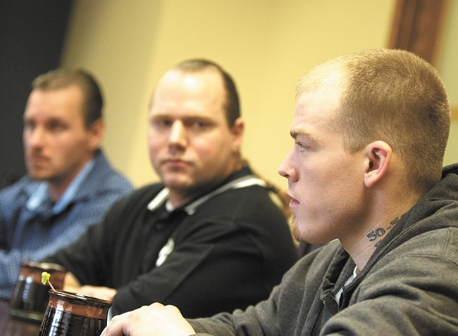FROM LEFT: Robert Larson, Paul Statler and Tyler Gassman are fighting for damages under Washington's Wrongful Conviction Compensation Act. - YOUNG KWAK