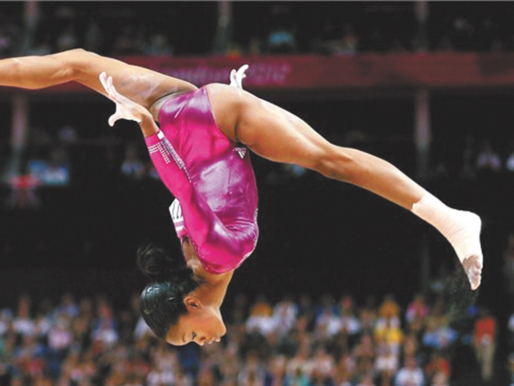 Gabby Douglass goes for gold in real time.