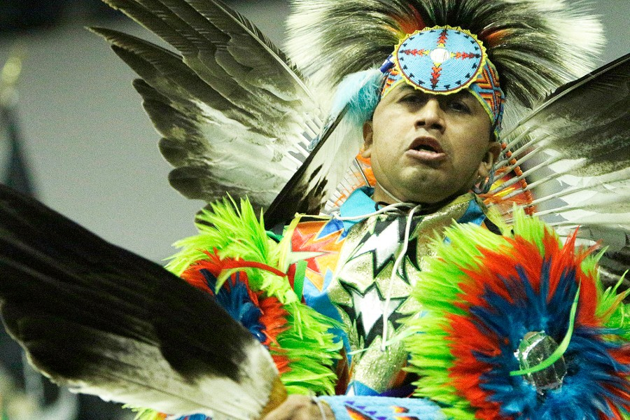 Gary Smith, of the Yakama Nation, dances in the opening procession. - YOUNG KWAK