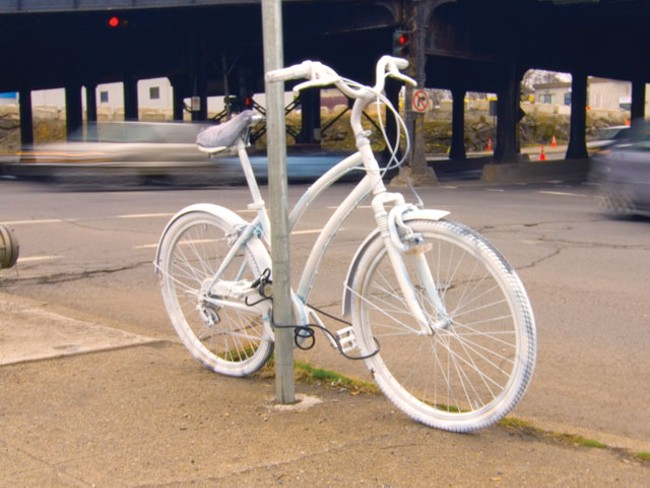 """""""Ghost bike"""" placed at Division and Sprague - TAMMY MARSHALL"""