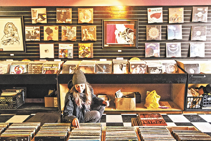 Groove Merchants customer Laura Provance browses for records - YOUNG KWAK