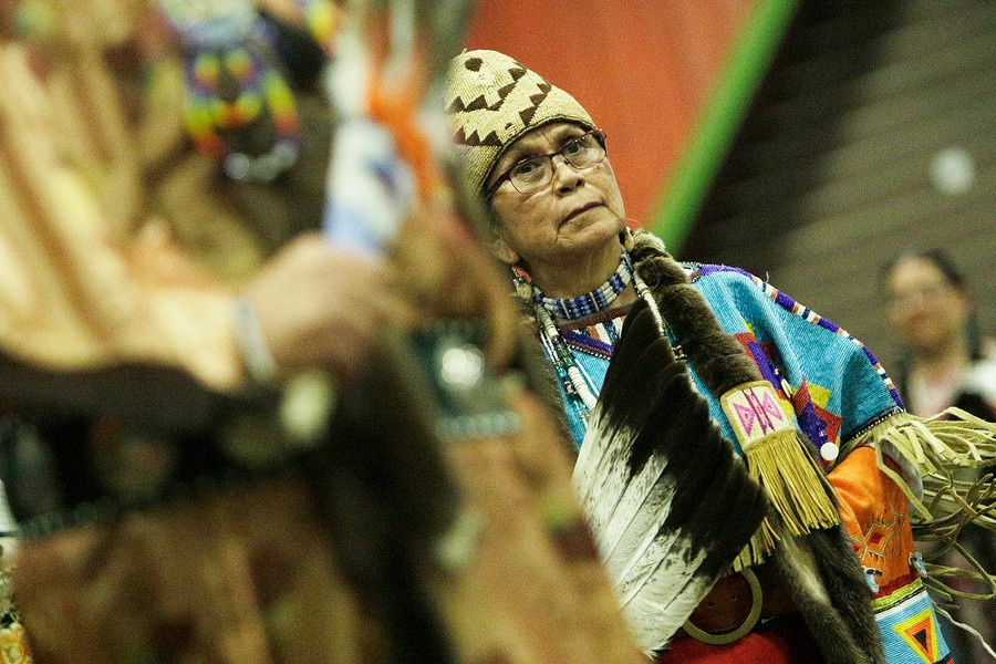 "Han-Umpt ""Wilma Wahsise"", of the Yakama Nation, dances. - YOUNG KWAK"