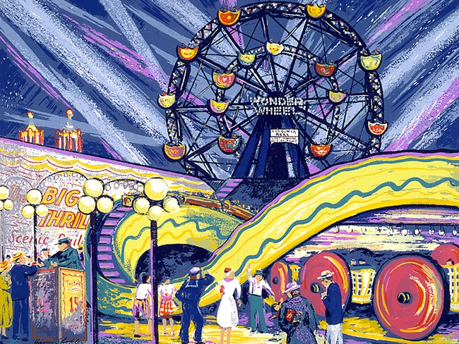 "Harry Shokler's ""Coney Island"" is just one of the circus-themed prints on display at the Jundt's new show."