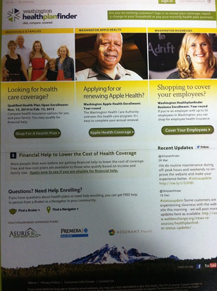 Here's what the new homepage of wahealthplanfinder.org will look like on November 15. - DEANNA PAN