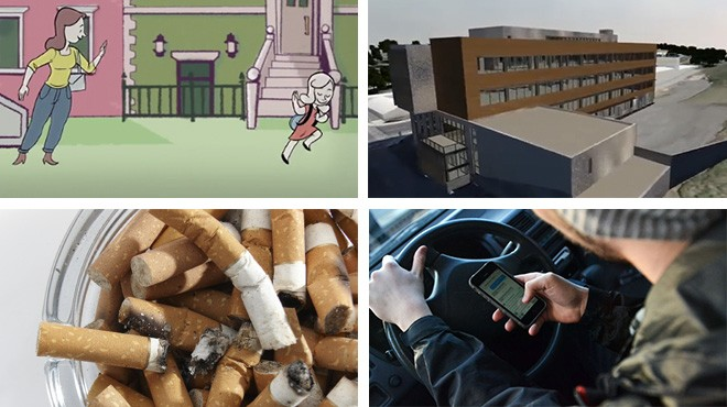 Clockwise from top left: A scene from the LunaFest film festival; the new clean technology laboratory at WSU; new research on texting and driving (Daily Evergreen); smoking on campus.