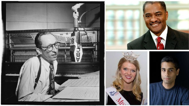 Clockwise from left: Buddy Weed, one of the musicians featured in the Blindfold Tests Collection released by U of I; WSU President Elson S. Floyd; speaker Siddharth Kara, coming to GU; and Miss Spokane Kailee Dunn, a senior at EWU. - LIBRARY OF CONGRESS/WSU/ROCKY CASTENADA PHOTOGRAPHY