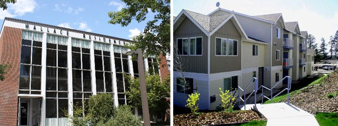 LEFT: Wallace Residence Center will be home to a fine arts themed community next fall. RIGHT: One of the apartment complexes built by Duane Brelsford in Pullman. - U OF I/DABCO