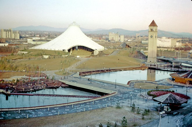 The U.S. Pavilion in Riverfront Park in 1976 when it was still covered, post-Expo. The covering was removed in 1978. - SPOKANE CITY PLANNING DEPARTMENT COLLECTION/WASHINGTON STATE ARCHIVES