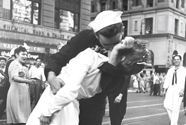 Iconic photos, like this 1945 image of the V-J Day celebration in Times Square, are part of the Corbis collection and included in WSU's new exhibit.