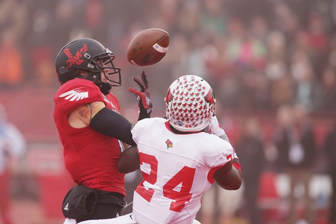 Illinois State defensive back Mike Banks (24) breaks up a pass intended for Eastern Washington wide receiver Cory Mitchell during the first half. - YOUNG KWAK