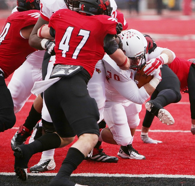 Illinois State running back Brady Tibbits (30) runs for a touchdown against Eastern Washington. - YOUNG KWAK