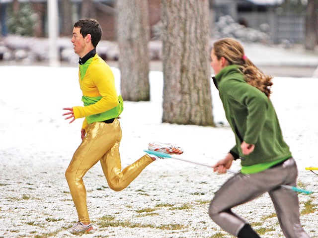 In Muggle Quidditch, the magical orb has been replaced with a human in golden spandex -- usually cross-country runner Parker Slater - [PHOTO: YOUNG KWAK]