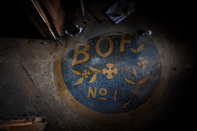 In the basement of O'Doherty's Irish Grille lies a forgotten seal of the now defunct Brotherhood of Friends (BOF), who met there from 1940-1947. The BOF had thousands of members at its peak. Private clubs like the BOF were initially used to exploit a loophole in the Prohibition-era drinking laws. - STEPHEN SCHLANGE