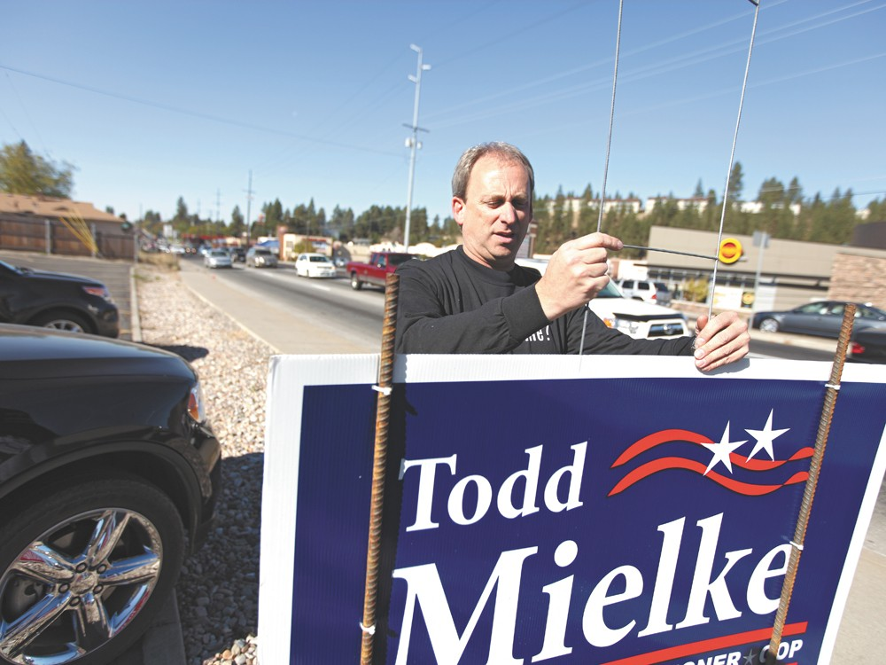 Incumbent Todd Mielke, on the campaign trail. - YOUNG KWAK