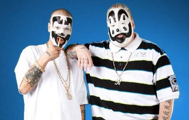 Insane Clown Posse members Shaggy 2 Dope, left, and Violent J hit record stores across the nation for the next month promoting their new album.