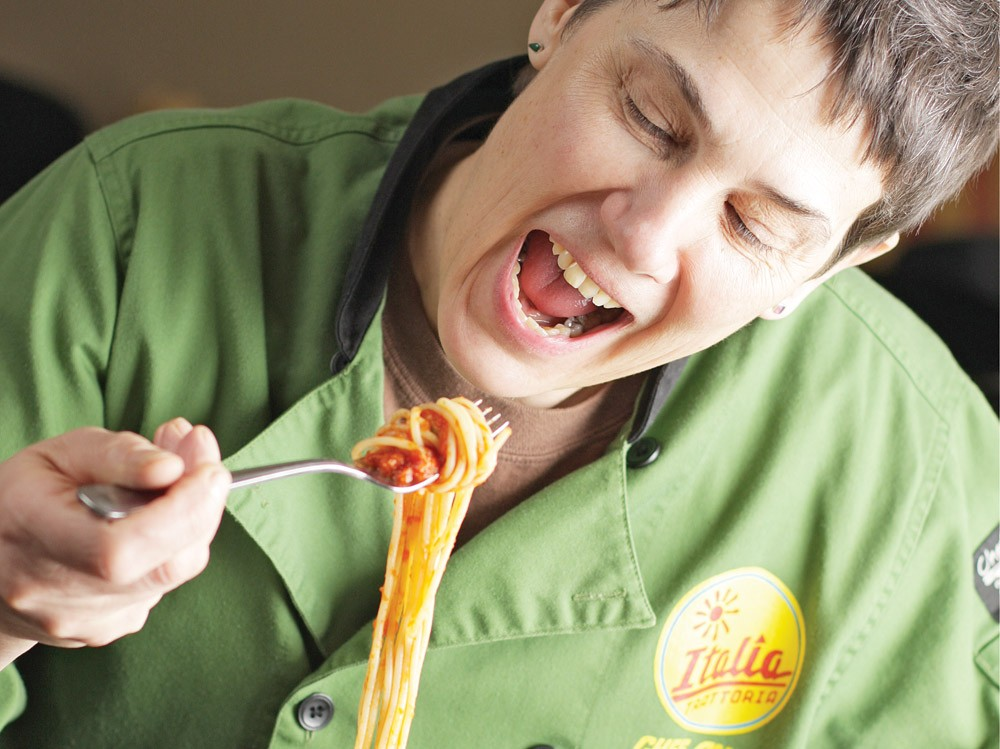 Italia chef Anna Vogel digs in to a plate of spaghetti - YOUNG KWAK