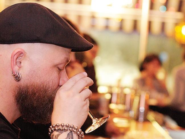 Jason Anderson sips at Bon Bon - Y