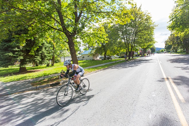 Jeff Judson completed the 112-mile bike ride in 7:18:57 and the entire race in 14:24:35, placing his rank at 1,275 at the Coeur d'Alene Ironman. - MATT WEIGAND