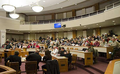 Advocates gathered Wednesday to comment on criminal justice reforms. - JACOB JONES