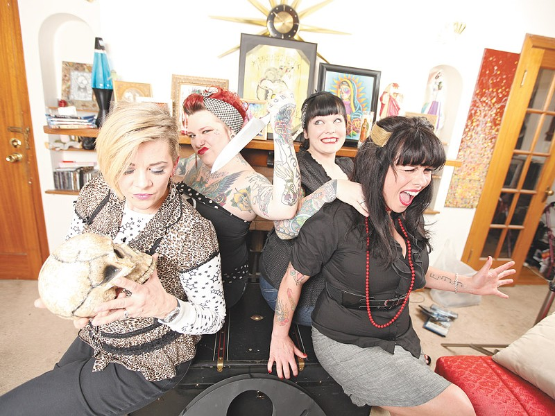 Just another dat at the office with the Scream Sirens: (left to right) Jen Adkins-Grossman, Stephanie Goldsmith, Joselle Stumph, and Chandra Vitellaro - YOUNG KWAK