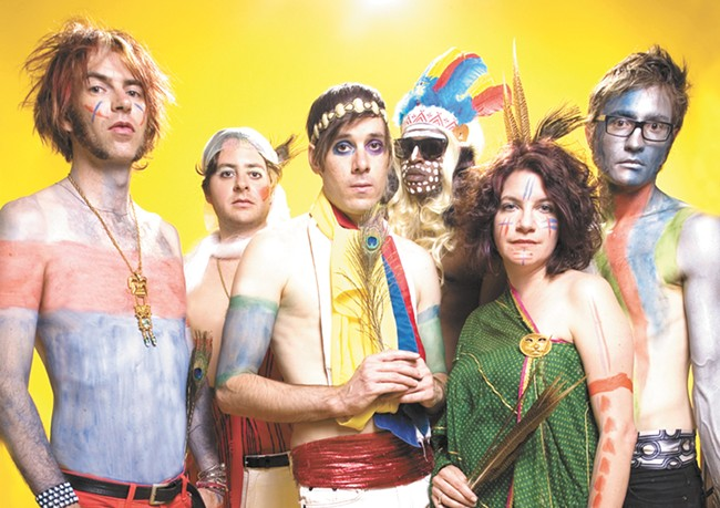 Kevin Barnes, center, serves as musical ringmaster for Of Montreal's circus-esque touring shows.