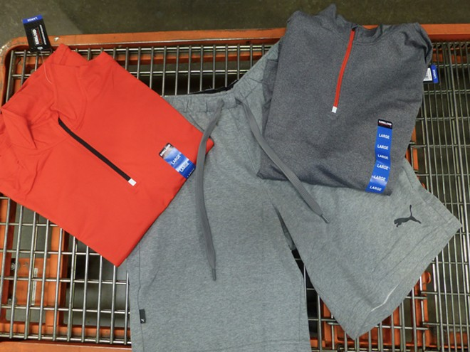 Kirkland Signature men's active 1/4 zip, $17.99; Puma shorts, $14.99. - MADISON BENNETT