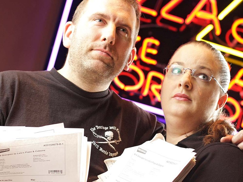 Lalo's Pizza owners Brett and Teresa Wyatt say they'll never use Groupon again. - YOUNG KWAK