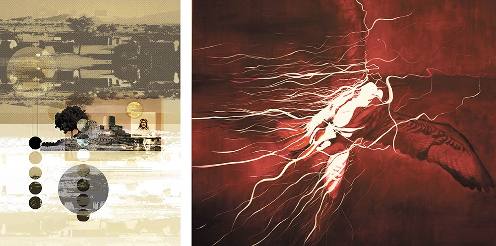 LEFT: Moments of the Oasis by Hamdan Al Shamsi. RIGHT: Highness II by Mattar Bin Lahej.