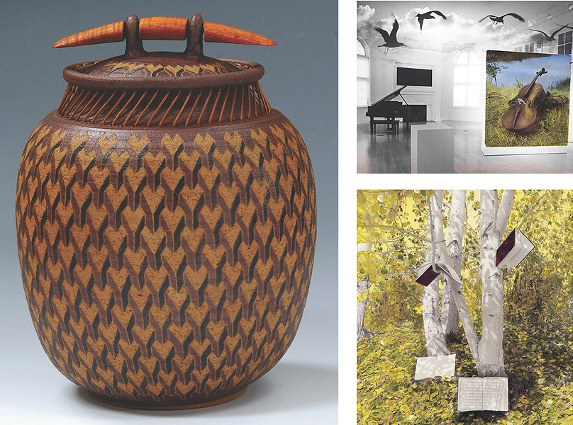 LEFT: One of Larry Richmond and Peggy Kondo's woven pots. RIGHT: Music Room (top) and Tree of Knowledge by Barbara Kline.