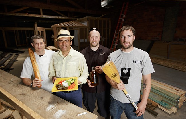 Left to right: Jeremy Hansen, owner of Common Crumb bakery, Shahrokh Nikfar of Mediterrano and Caffé Affogato, and Black Label Brewing Company co-owners Dan Dvorak and Steve Wells. - YOUNG KWAK